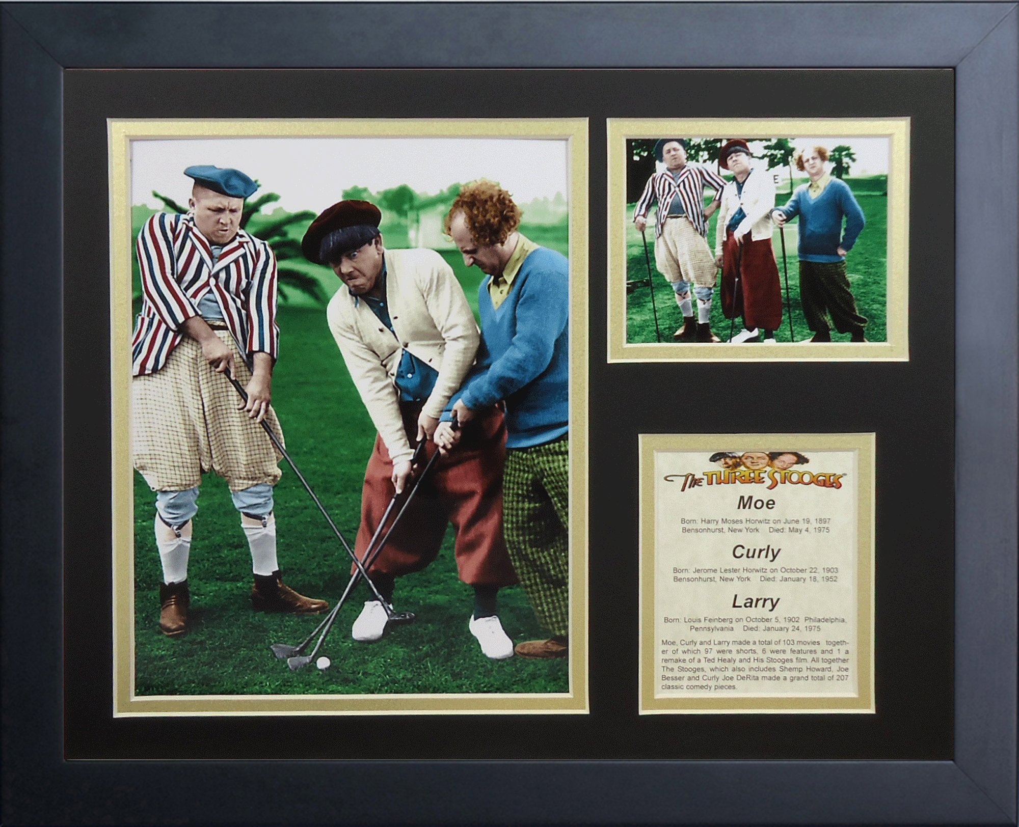 Legends Never Die The Three Stooges Golf Color Framed Photo Collage, 11x14-Inch by Legends Never Die