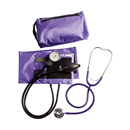 MABIS MatchMates Aneroid Sphygmomanometer and Dual Head Stethoscope Combination Home Blood Pressure Kit with Calibrated Nylon Cuff, Purple: Amazon.es: ...
