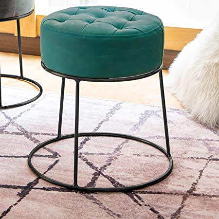 Art Leon Small Round Ottoman Short Ottoman Stackable Footstool Ottoman Leather Pouf Ottoman Foot Rest for Living Room,Vanity,Dorm,Apartment,14.17 x 14.17 x 14.37 H , Bluish Green