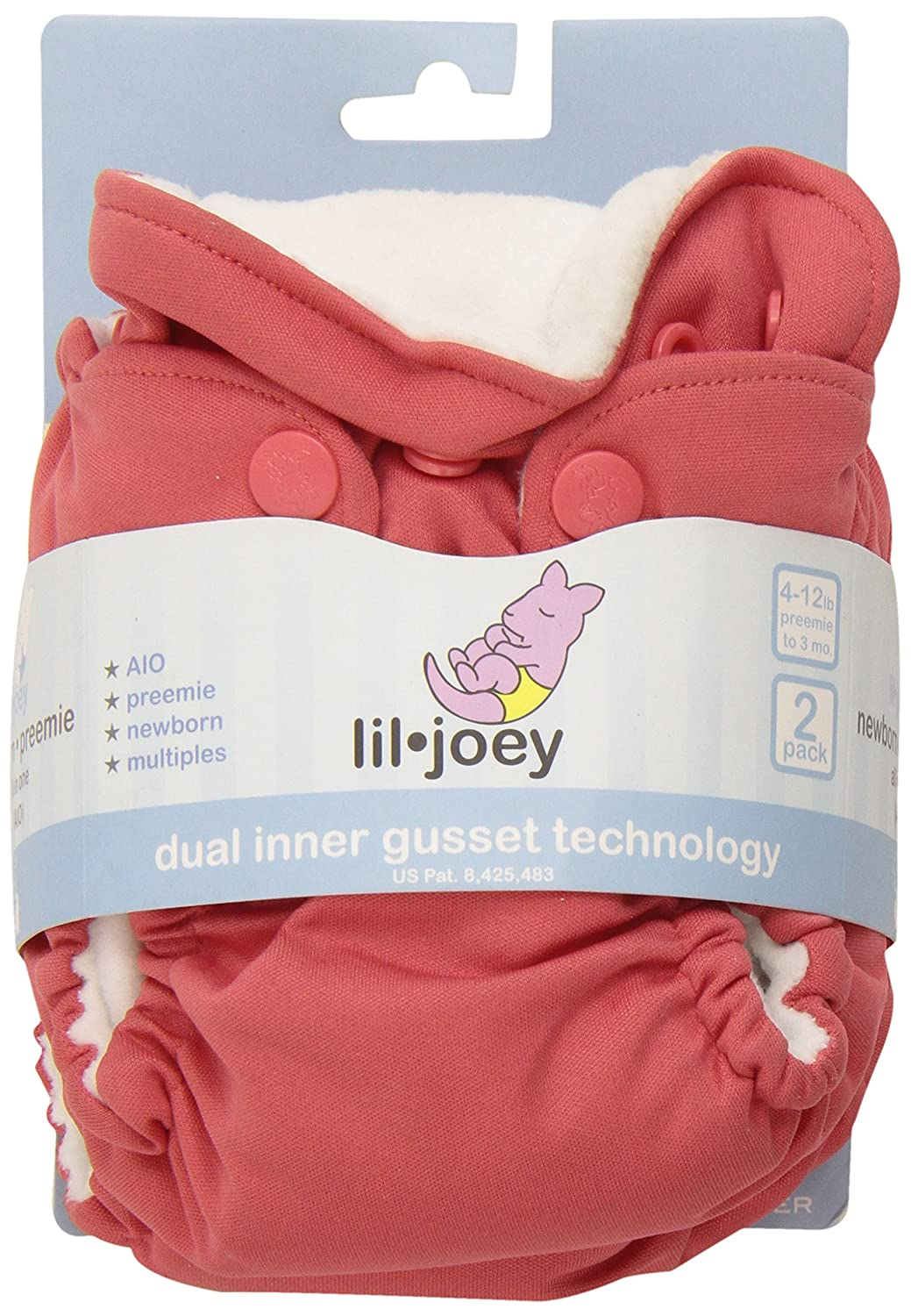 2-Pack Kanga Care Lil Joey Newborn All-In-One Cloth Diaper Sweet