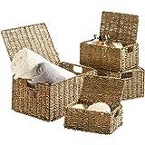 VonHaus Set of 4 Seagrass Storage Baskets with Lids & Insert Handles