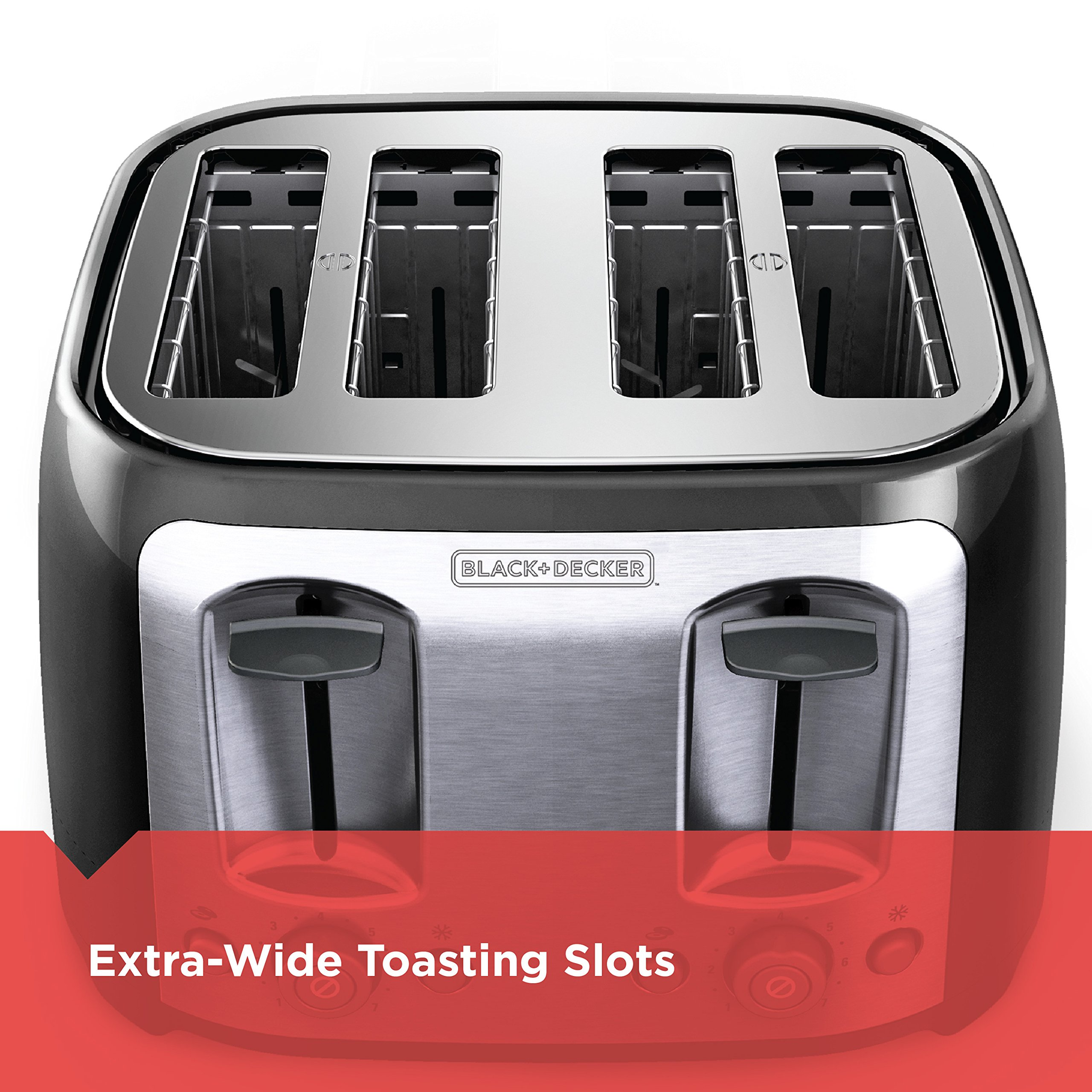 BLACK+DECKER 4-Slice Toaster, Classic Oval, Black with Stainless Steel Accents, TR1478BD by BLACK+DECKER (Image #3)