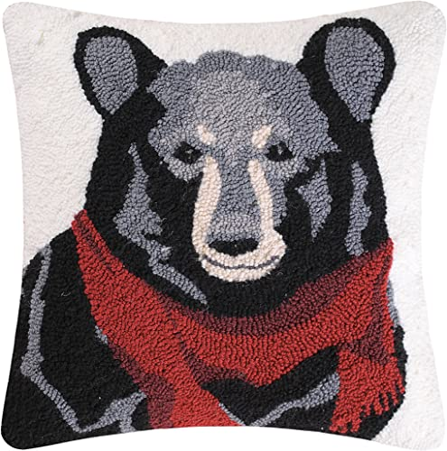 C F Home Welcome Friends Bear Hooked Lodge Pillow, Black