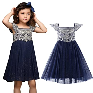Pettigirl Flower Girl Dress Toddler Kids Glitter Tulle Princess Wedding Party Prom Dresses