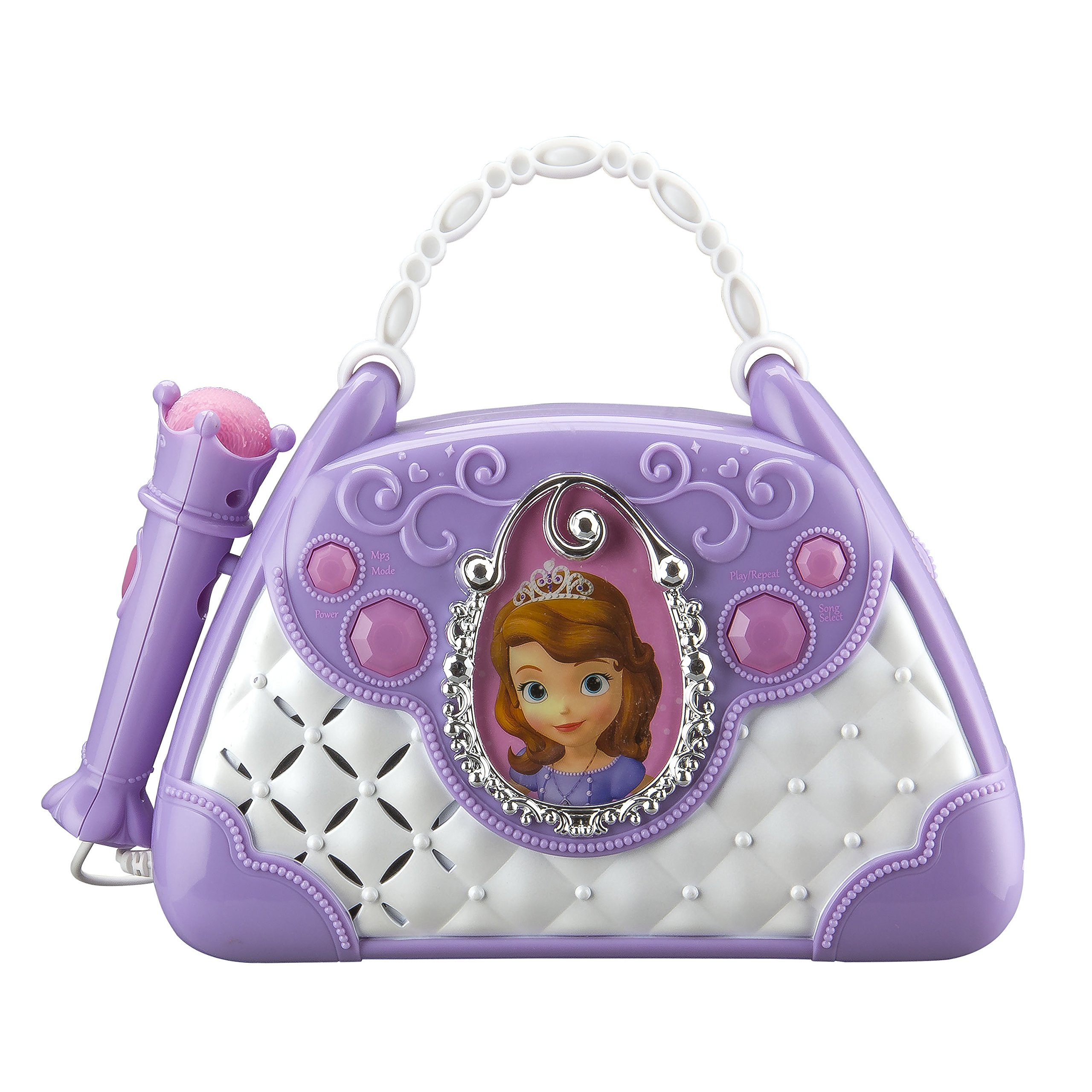 Disney Sofia The First Junior Time To Shine Sing Along Boombox With Microphone Connect Your MP3 Player & Sing to Your Music or Sofia's Built In Tunes