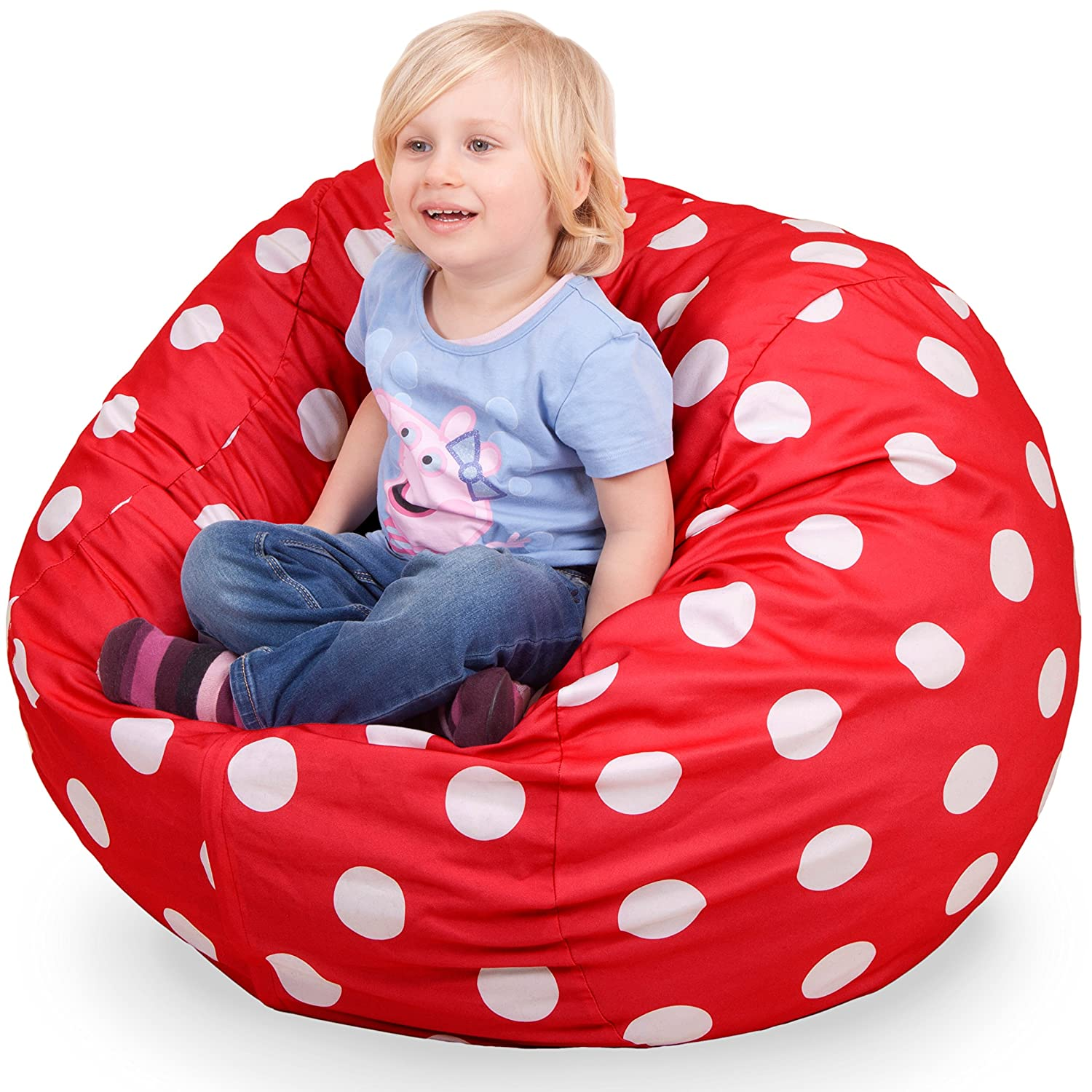 Amazon Oversized Bean Bag Chair in Flaming Red & White Polka