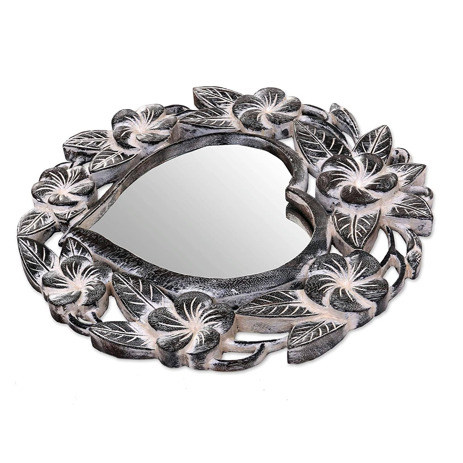 NOVICA 262493 Black Frangipani Heart Wall Mirror