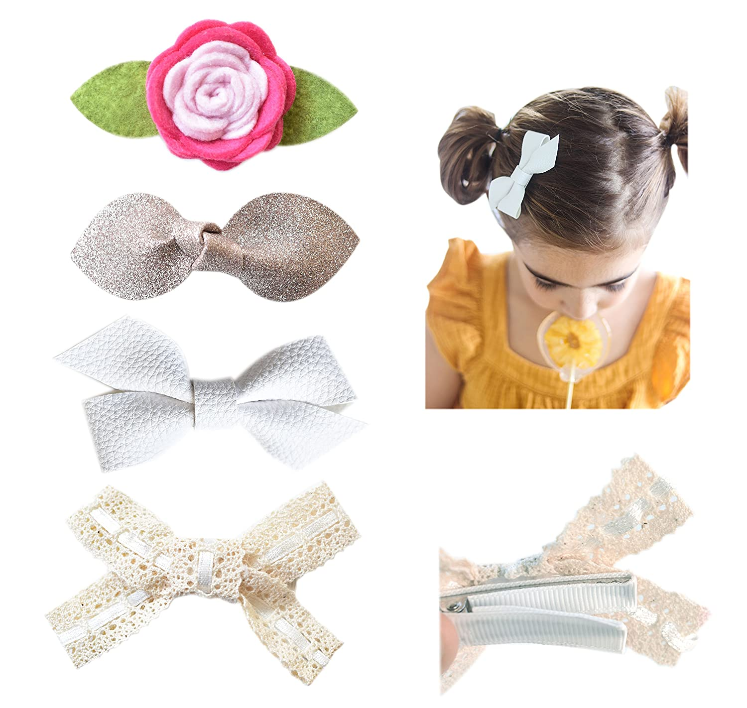 California Tot Baby Girl's Faux Leather Glitter and Lace Bow Hair Clips for Babies Toddlers One size fits all, Set of 4 (Boho Clip Set)