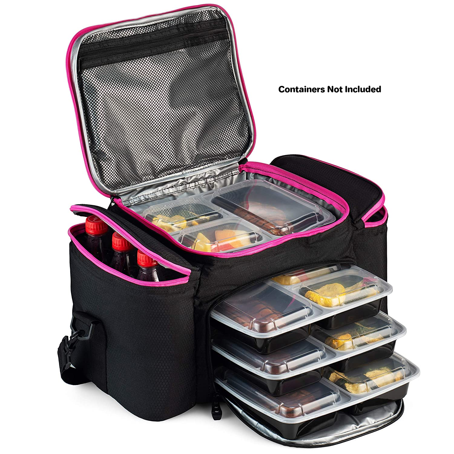 Cooler Bag insulated By Outdoorwares Large Capacity Bag Durable, Insulated Tote To Keep Foods And Drinks In The Right Temperature Good for Travel, Picnic, Beach Hiking, Camping ETC. Pink Zipper
