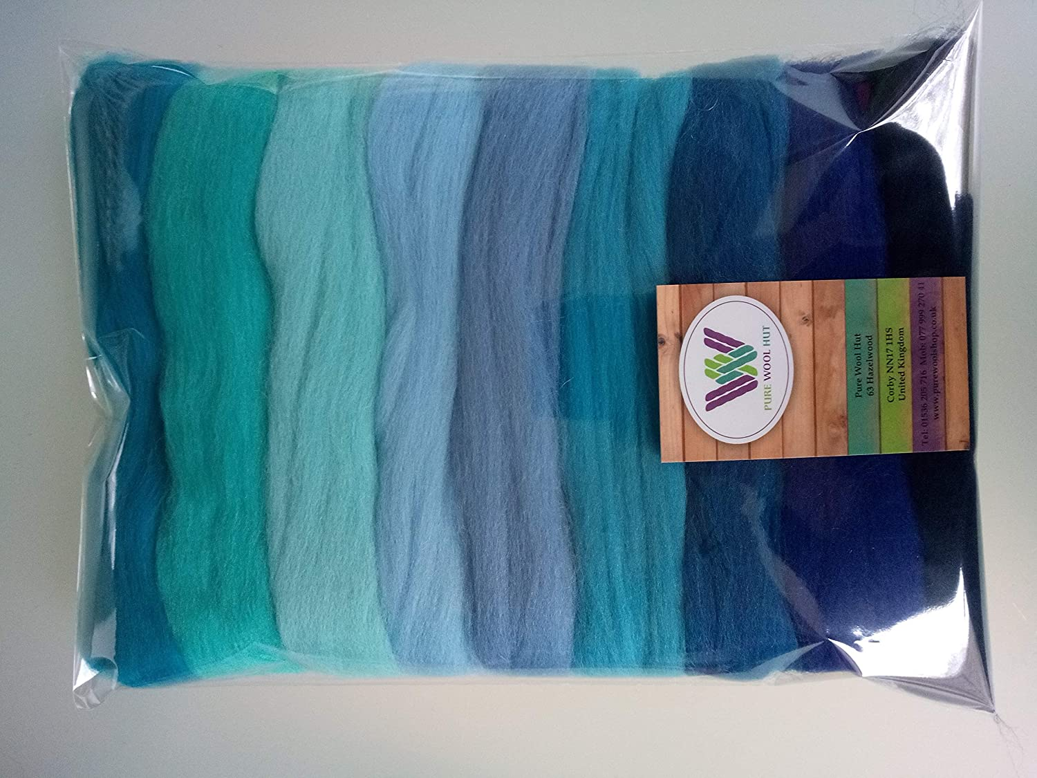 Blue Set* Pure Merino Wool Tops for Felting Packs of Set 30, 60 and 90 Grams (90g) Pure Wool Hut