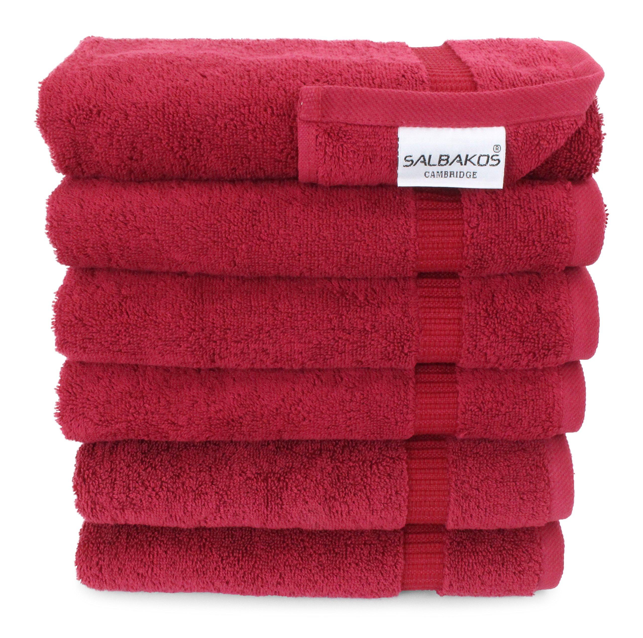 SALBAKOS Luxury Hotel & Spa Turkish Cotton 6-Piece Eco-Friendly Hand Towel Set 16 x 30 Inch, Wine