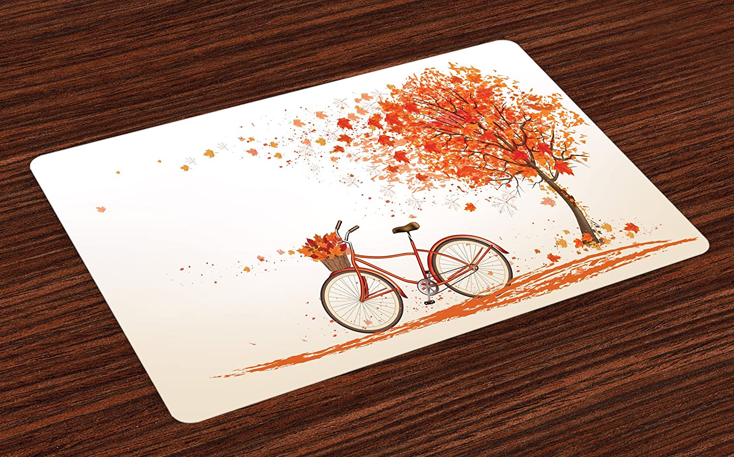 Ambesonne Bicycle Place Mats Set of 4, Autumn Tree with Aged Old Bike and Fall Tree November Day Fall Season Park Nature Theme, Washable Fabric Placemats for Dining Room Kitchen Table Decor, Orange