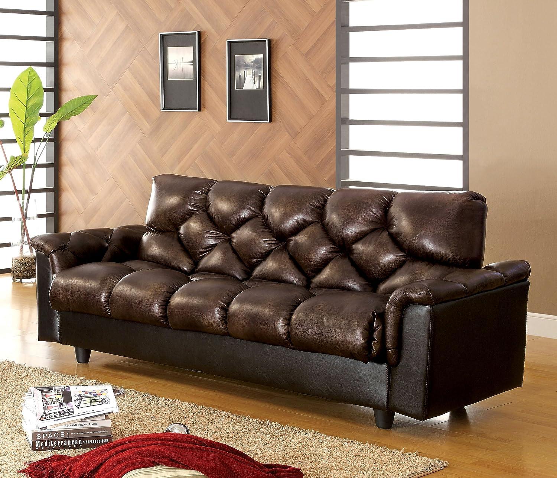 Furniture of America Montclaire Leather-Vinyl Storage Futon/Sofabed, Dark  Brown