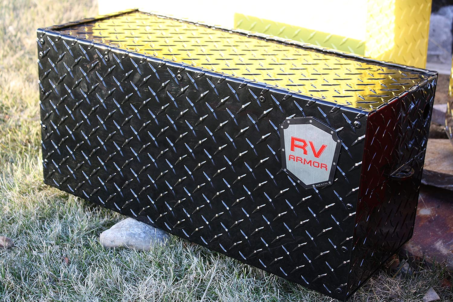 RV Armor RV Battery Lock Box - Aluminum Diamond Plate