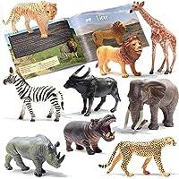 Prextex Realistic Looking Safari Animal Figures - 9 Large Plastic Figures with Jungle Animals Book