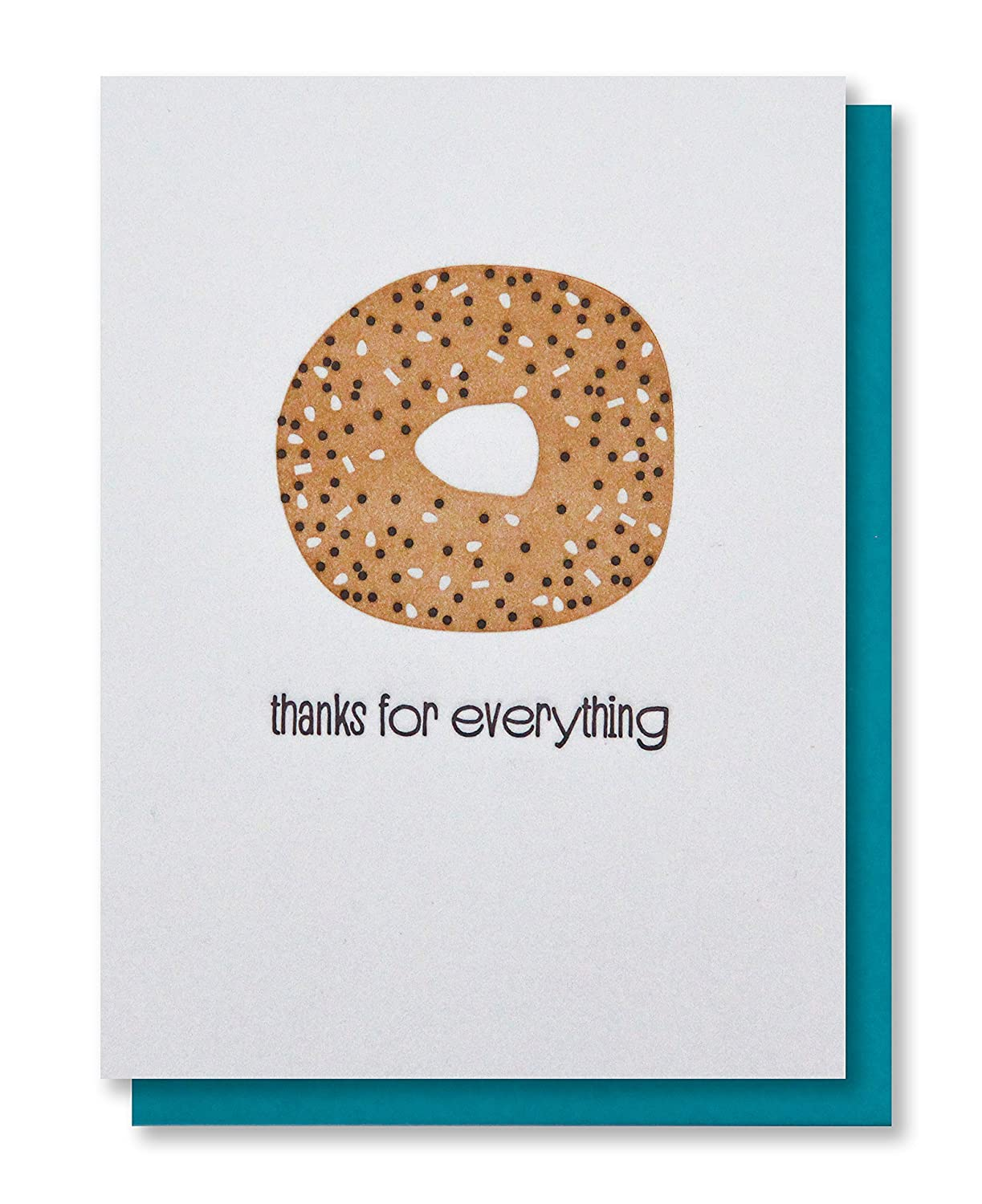 Thanks for Everything - Funny Bagel Thank You Letterpress Card (Blank Inside)