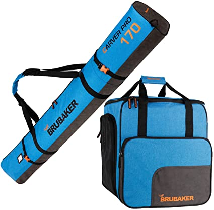 5a1dbadb11df BRUBAKER Combo Set Carver Performance - Ski Bag and Ski Boot Bag for 1 Pair  of Skis + Poles + Boots + Helmet - Blue Black