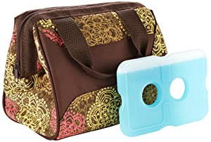 Fit & Fresh Women's Downtown Insulated Lunch Bag with Zipper Closure and Exterior Pocket, Stylish Adult Lunch Box for Work, Olive Floral