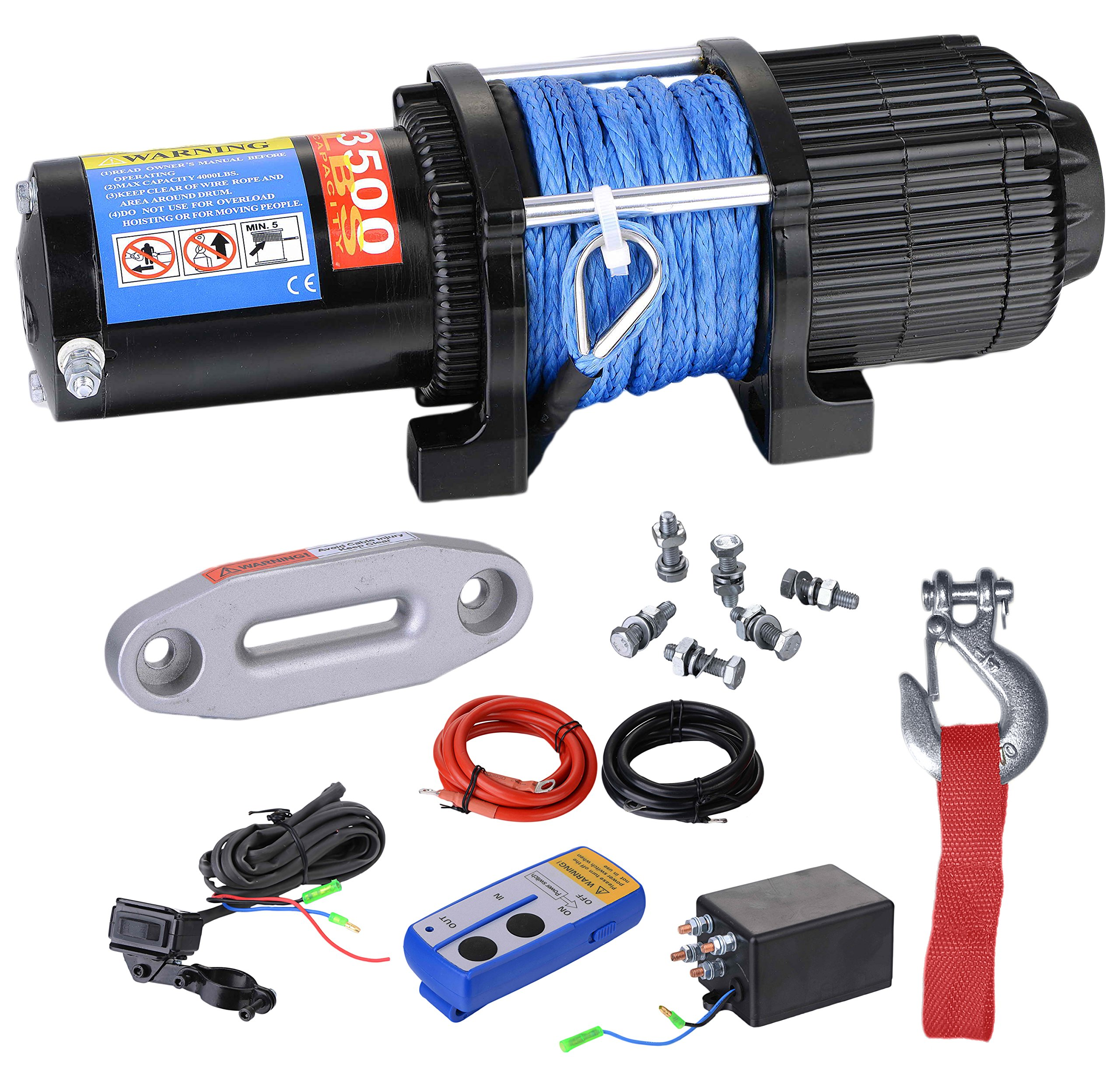 BIZ Tow Recovery Winch 3500lbs Capacity Electric Winch Synthetic Rope Winch for ATV/UTV,3500D-1S