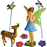 Mood Lab Fairy Garden Miniature Deer Set of 7 pcs, Hand Painted Figurines & Accessories, Kit For Outdoor or House Decor