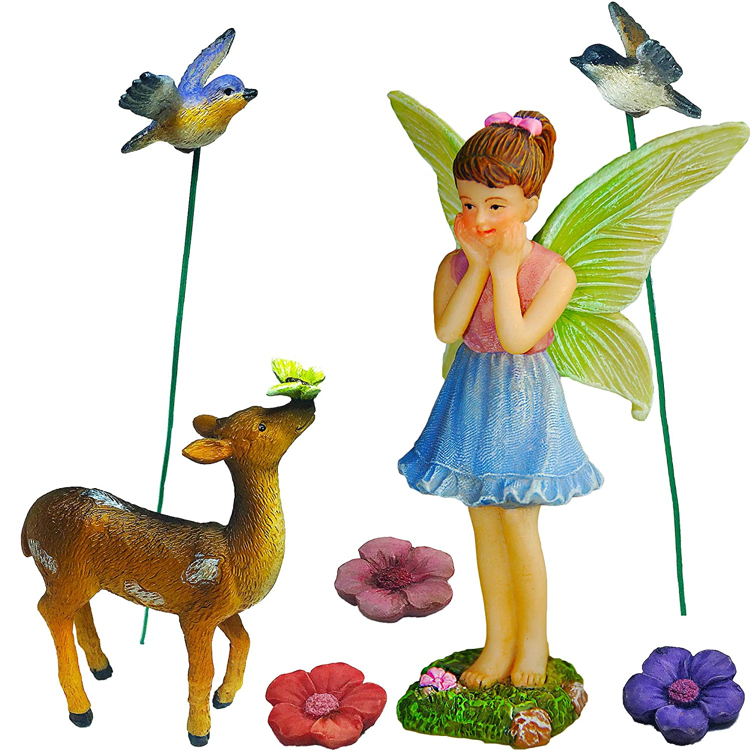 Mood Lab Fairy Garden - Miniature Accessories and Figurines Kit - Hand Painted Deer Set of 7 pcs for Outdoor or House Decor