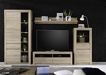 Furnline Living Room Furniture TV Stand Wall Unit With 4 Glass Shelves Sevilla Canadian Oak