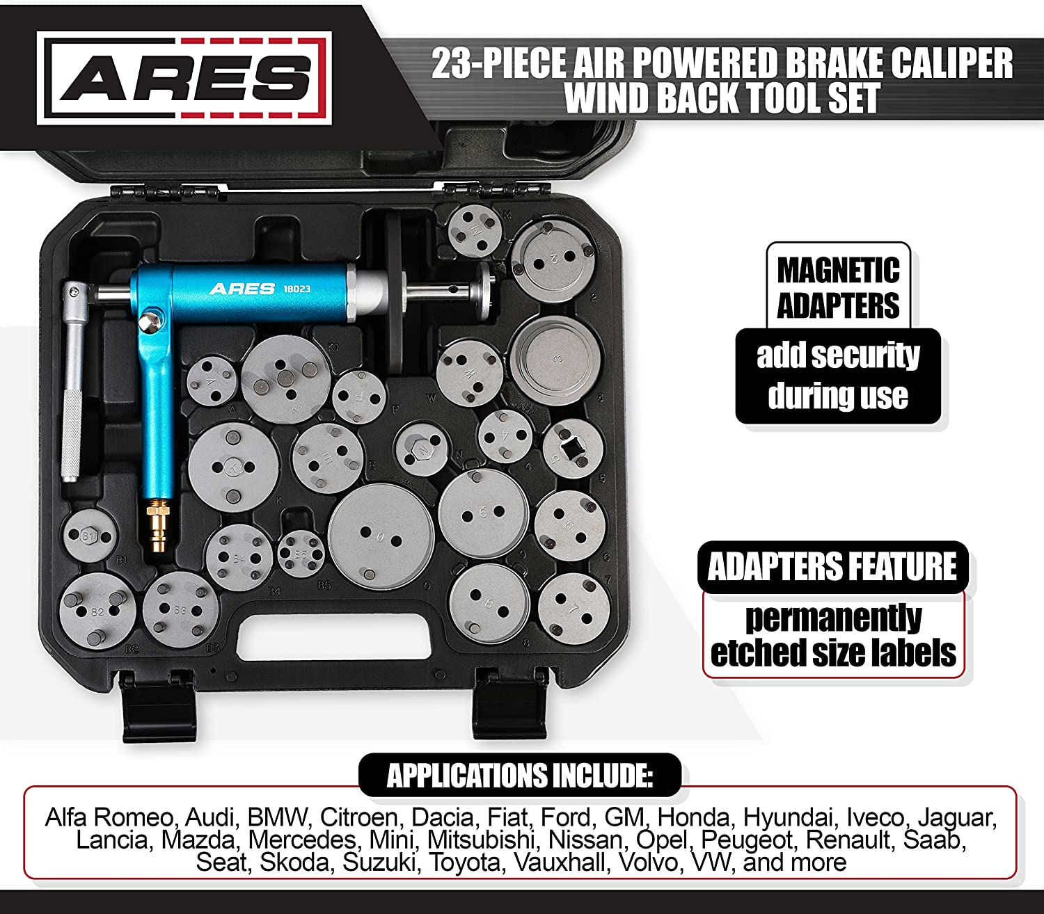 ARES 18024-16-Piece Brake Caliper Wind Back Tool Set Pneumatic Design for Easy One-Person Use Includes Compressor Tool Storage Case Included 15 Drive Key Disc Adapters