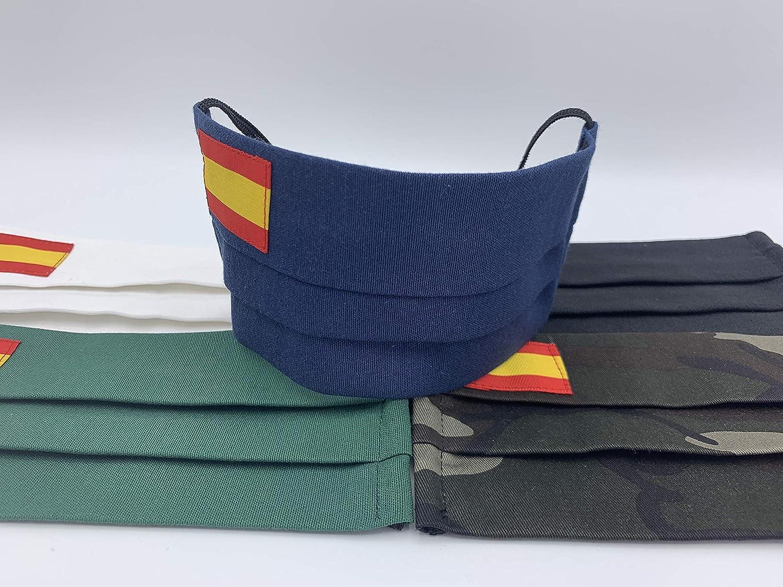 Tapabocas 2 unidades de algodon Verde Azul Militar Negra Blanca con bandera de España: Amazon.es: Handmade