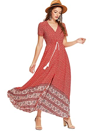 ee18d3a69 Milumia Women's Button Up Split Floral Print Flowy Party Maxi Dress Large  Red-2 at Amazon Women's Clothing store: