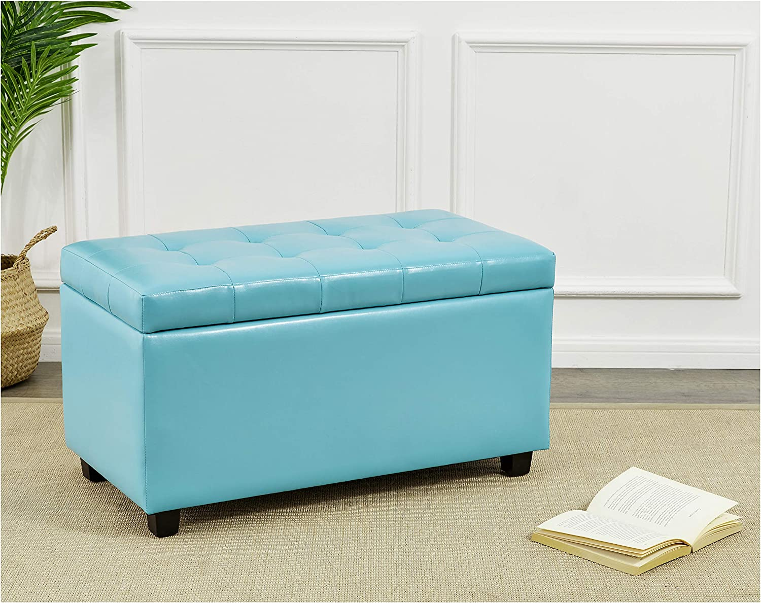 Minty Blue 34 x 18 x 19 Inches Red Hook Ravenna Storage Ottoman Bench with Faux-Leather Upholstery