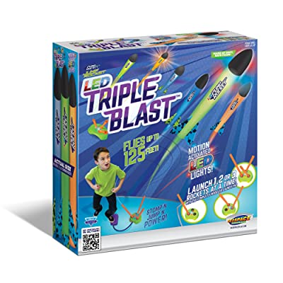 Geospace Jump Rocket LED Triple Blast with Launch Pad and 3 Foam Rockets; Great for Glow in The Dark Outdoor Play: Toys & Games