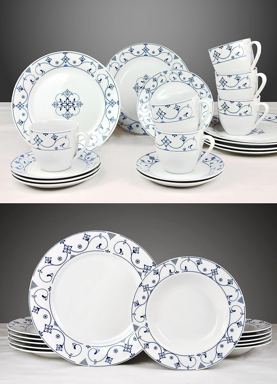 Kombiservice Indisch Blau 60-tlg. weiß mit farbigem Dekor für 12 ...