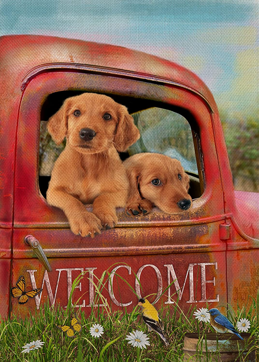 Covido Home Decorative Welcome Summer Garden Flag, Red Truck Dog House Yard Puppy Decor Daisy Flower Bird Butterfly Outside Decoration, Golden Retriever Outdoor Small Burlap Flag Double Sided 12 x 18