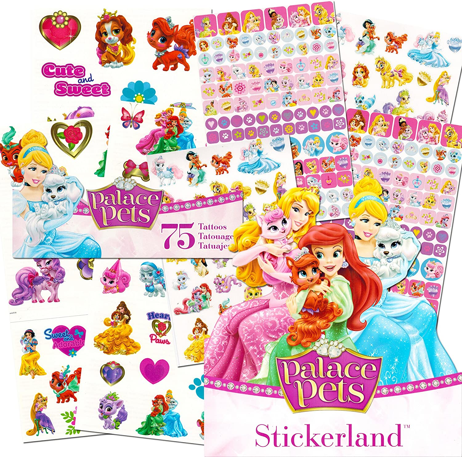 Bundle of 12 Sheets 240 DISNEY PRINCESS Stickers Party Favors Stickerland Stickers plus 2 Specialty Stickers