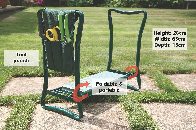 Garden Folding Kneeler Seat Chair Pad Stool Steel Frame Tool Hoffom
