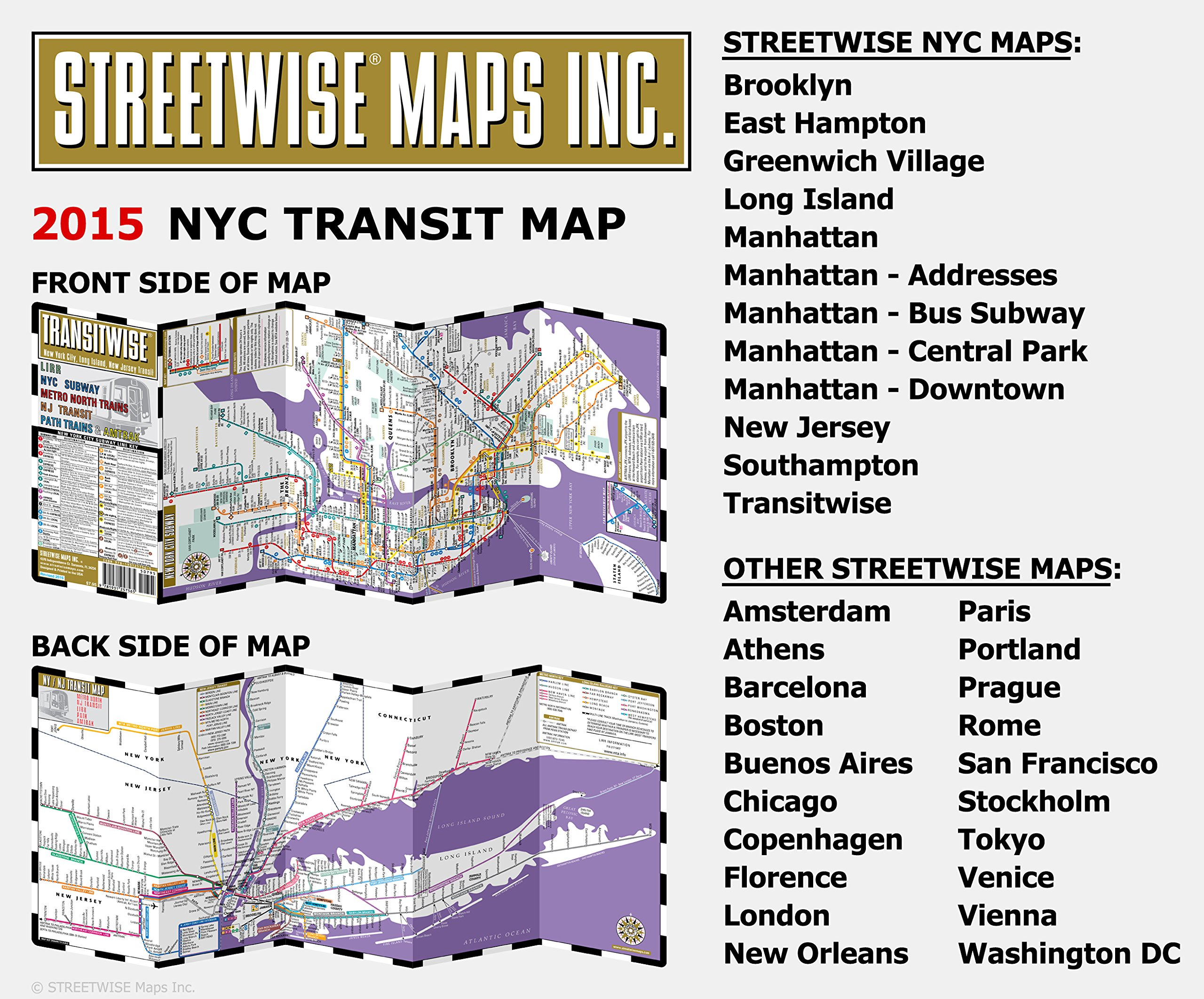 Streetwise Transitwise New York City Subway Map - Manhattan Subway