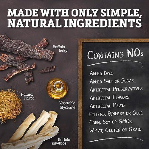Buffalo Range Rawhide Dog Treats Healthy, Grass-Fed Buffalo Jerky Raw Hide Chews Hickory Smoked Flavor Jerky Bone