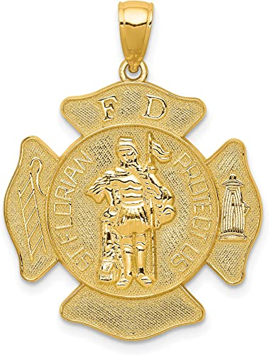 Protector Of Firefighters 14K Yellow Gold Saint Florian Oval Medal With Text Saint Florian
