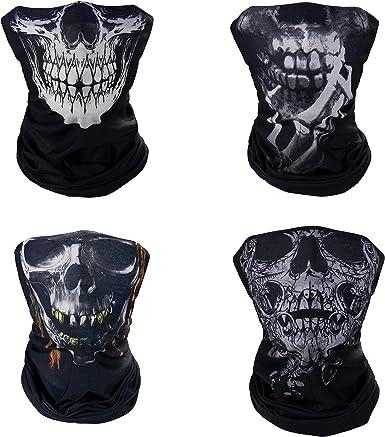 4 Pack Skull Neck Gaiter Shield Scarf Bandana