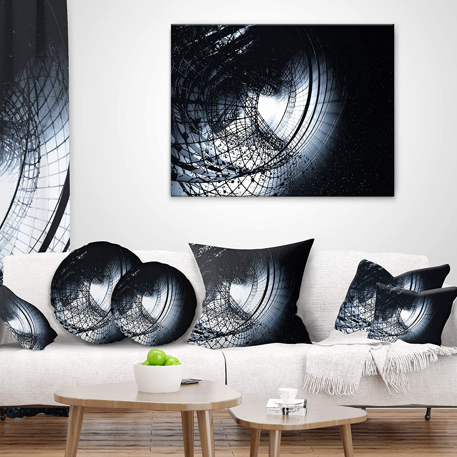 Designart CU8558-16-16-C 3D Art Black Spiral Abstract Round Cushion Cover for Living Room Insert Printed On Both Side Sofa Throw Pillow 16