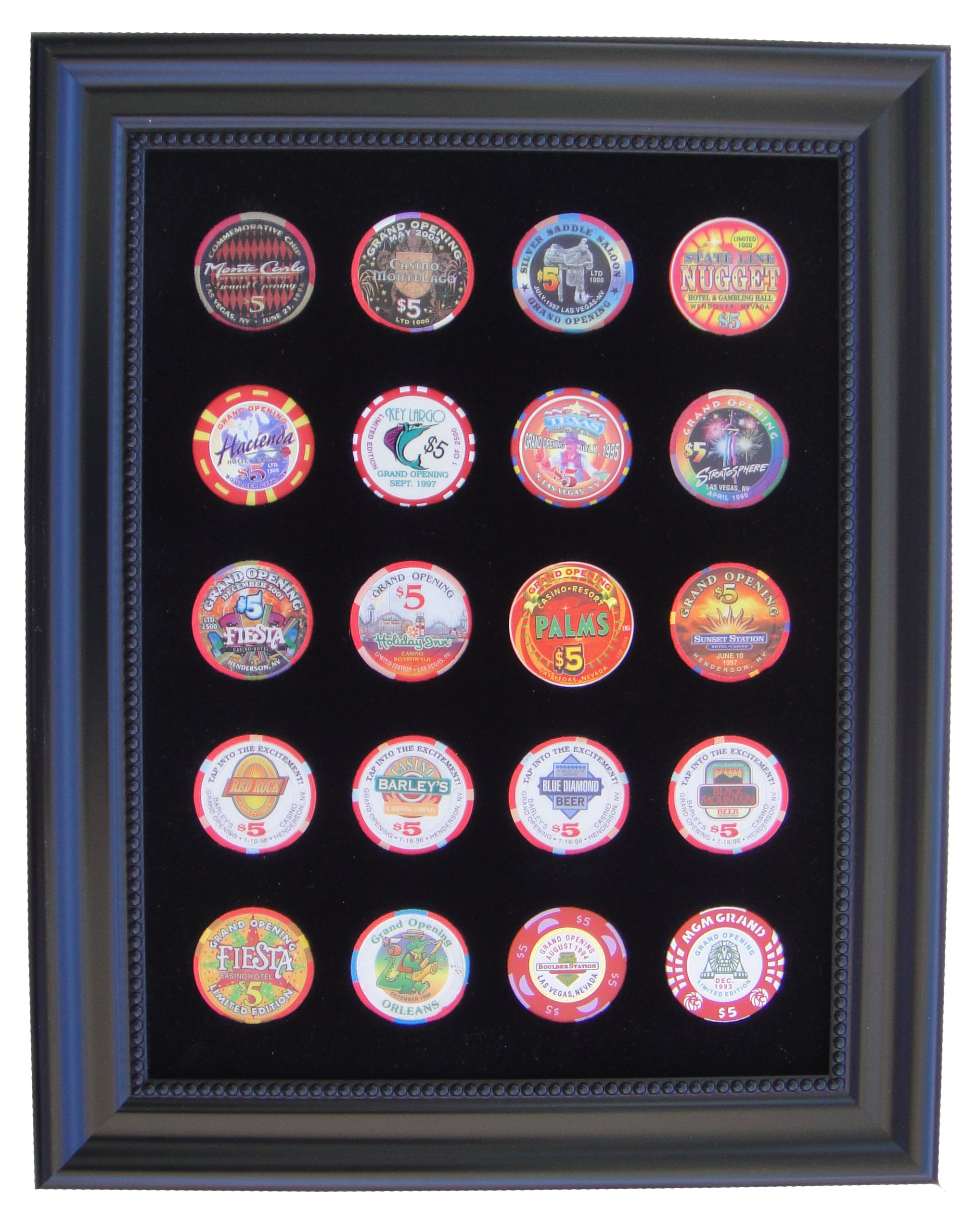 Black Casino Chip Display Frame for 20 Casino Poker Chips (not included) by Tiny Treasures, LLC.