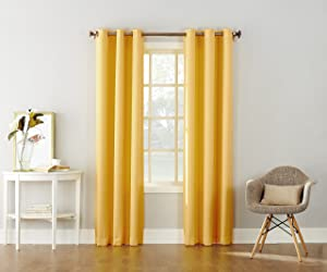 "No. 918 Montego Casual Textured Grommet Curtain Panel, 48"" x 63"", Yellow"