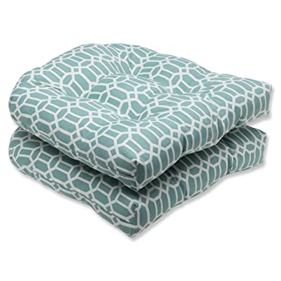 """Pillow Perfect Outdoor/Indoor Rhodes Quartz Tufted Seat Cushions (Round Back), 19"""" x 19"""", Blue, 2 Pack: Home & Kitchen"""