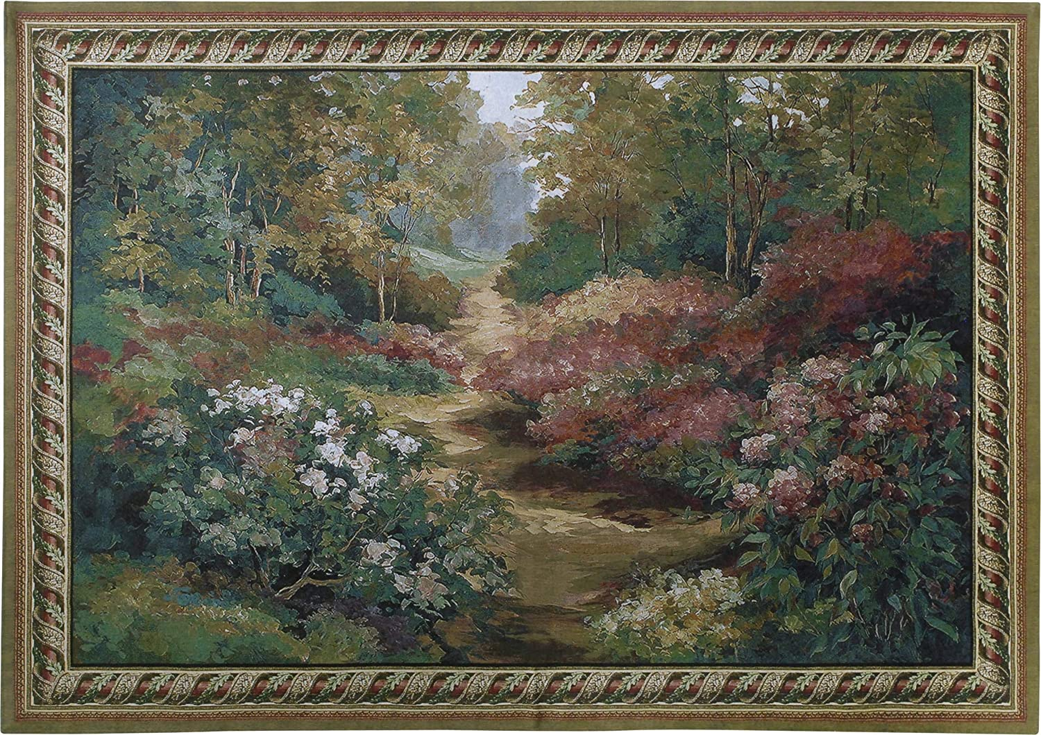 Along the Garden Path by Alix Stefan   Woven Tapestry Wall Art Hanging   Blooming Flowers Nature Trail Artwork   100% Cotton USA Size 53x43
