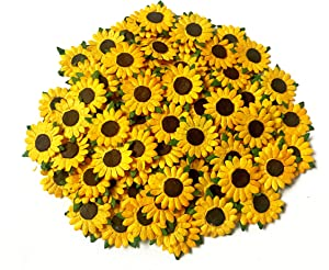 TH 50 Tiny Sunflowers Mulberry Paper Craft Supplies Scrapbook Card Flower Embellishments 15 mm. for so Many Card Craft Projects
