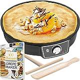 """Crepe Maker Machine (Lifetime Warranty), Pancake Griddle – Nonstick 12"""" Electric Griddle – Pancake Maker, Batter Spreader, Wo"""