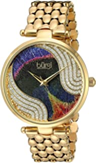 Burgi Womens Genuine Swarovski Crystal Peacock Feather Pattern Dial With Gold-Tone Case on Gold
