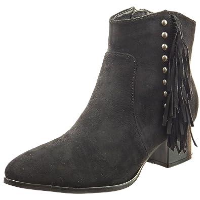 Sopily - Zapatillas de Moda Botines cavalier Tobillo mujer tachonado fleco Talón Tacón ancho 4.5 CM - Negro CAT-3-PN1513 T 41: Amazon.es: Zapatos y ...
