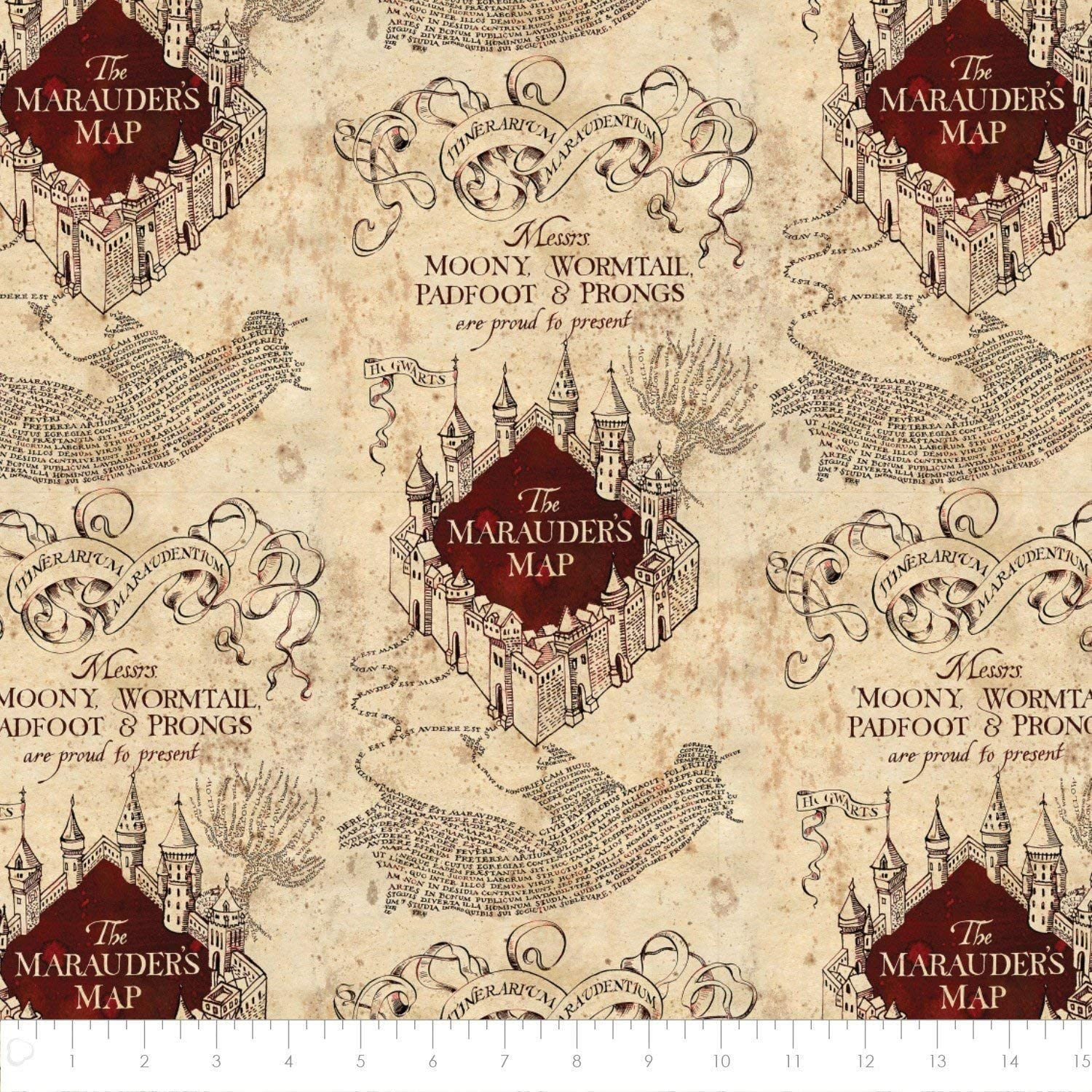 Amazon Com Harry Potter Marauders Map In Tan Fabric By The Yard