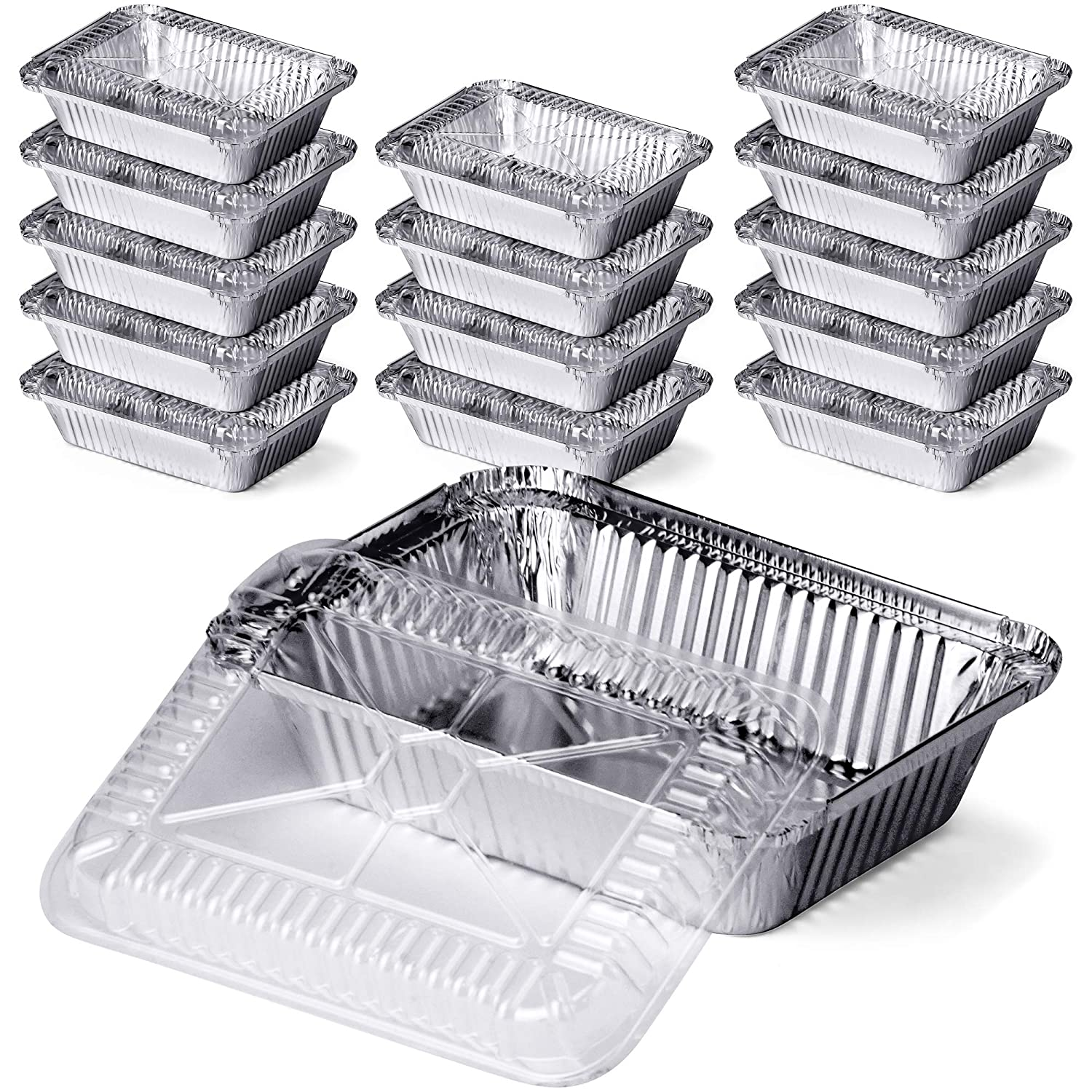 DecorRack 2 1/4 Lb. Aluminum Pan with Dome Lid, Heavy Duty Rectangular Tin Foil Pans, Perfect for Reheating, Baking, Roasting, Meal Prep, to-Go Containers, Environmentally Friendly (Pack of 14)